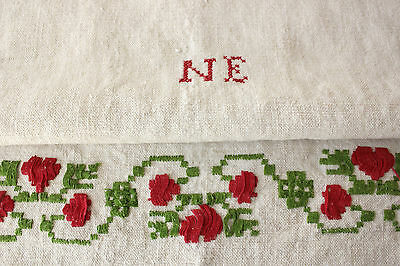 Vintage Hungarian hand embroidered towel cloth embroidery handstitched red green