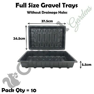 10 X Heavy Weight Seed Trays Without Holes Watering Gravel Full Size Seeds