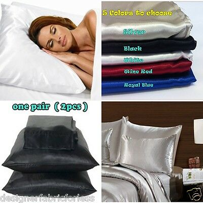2 x Luxury Silky/Satin Pillowcase--Suit Single Double Queen King Bedding