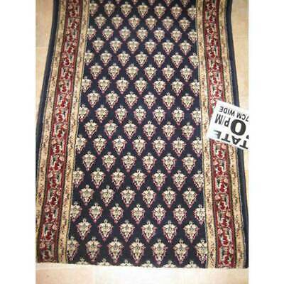 Hallway Runner Carpet Rug Blue Wool 67cm Wide Estate Mir Per Metre Floor Rugs