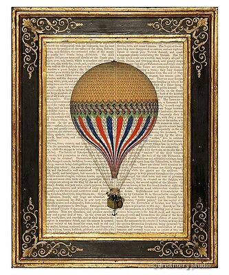 Yellow Hot Air Balloon Art Print on Vintage Book Page Home Office Decor Gifts