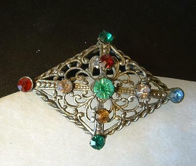VTG Antique DECO Colorful Rhinestone Brooch Ornate Metal Work OLD C Style Clasp