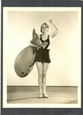 SEXY ANITA PAGE IN SWIMSUIT + GIANT FISH - EXC COND 1930'S- SILENT + TALKIE STAR