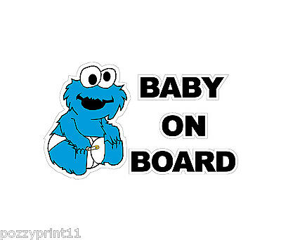 Baby Cookie Monster Baby On Board  sticker decal vinyl graphics car ute safety