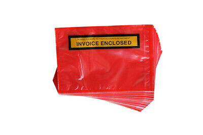 100 RED Invoice Enclosed Document Envelope Sticker Label 115mm x 165mm