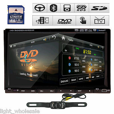 """7""""Touch Screen In-Dash 2 Din Car DVD Player GPS Dual Zone RDS Ipod BT TV+Camera"""