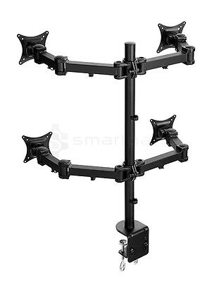 Lavolta Quad Monitor Mount Stand Adjustable Arm 4x LCD LED TV Screen Display
