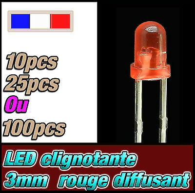 100 ou 1000pcs LED diffused 25 214D# LED 3mm ronde orange diffusant  dispo 10