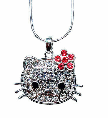 Adorable Hello Kitty Necklace  Pink Flower Austrian Crystals Silver  Plated