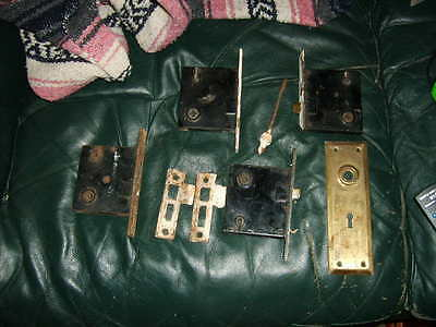 VINTAGE 1800s BRASS  LOCK SET OF 4 LOCKS AND OTHER MISC