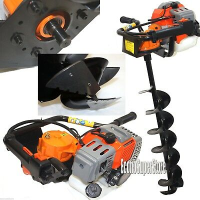 "Earth Auger Post Digger ice Drill 52cc Gas Power 8"" ice bits Bit w/Sharp Blades"