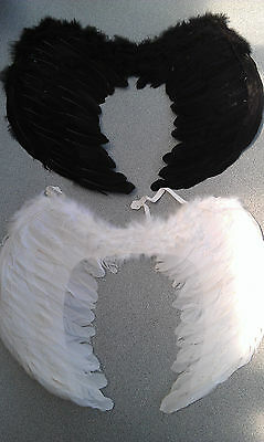 Large Fancy Feather Black/White  Angel Wings Dress Up Halloween/Party/Costume
