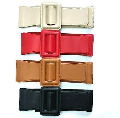 AU 8cm Wide Rectangle Buckle Adjustable Girl Woman Stretch Elastic Waist Belt TX