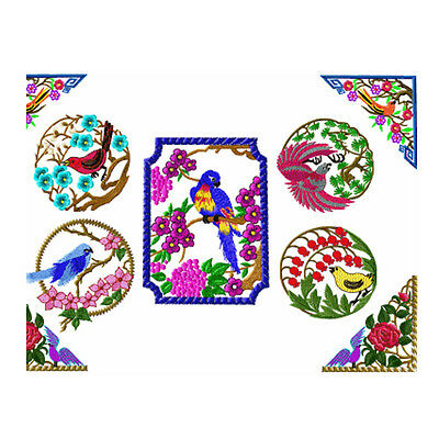 """ABC Designs Bird Life Machine Embroidery Designs Set of  8 for 4""""x4"""" Hoop"""