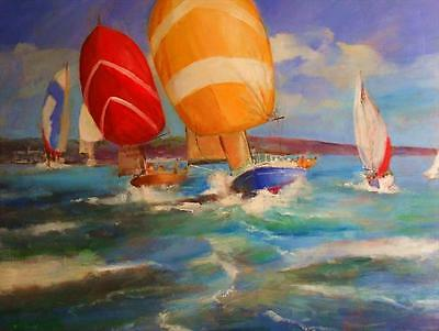 Superb Original Martin Ulbricht Oil On Canvas Yachting Cowes Week Yacht Painting