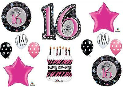 Sweet 16 Sixteen ZEBRA CAKE Birthday Party balloons Decorations Supplies pink