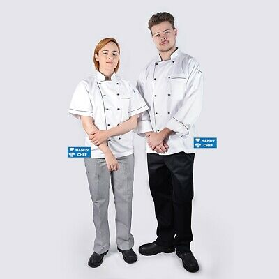 White Chef Jacket with Black Piping - See handychef store for chef pants, aprons