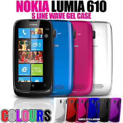 S LINE WAVE SOFT GEL SKIN CASE SCREEN PROTECTOR FOR NOKIA LUMIA 610
