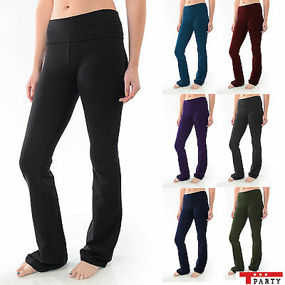 YOGA Pants Foldover Flare Leg Long Slimming Womens Fitness Workout T-Party