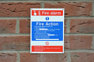 Fire Alarm Fire Action Emergency Evacuation Safety Sign/Sticker/Holed - 2 Sizes