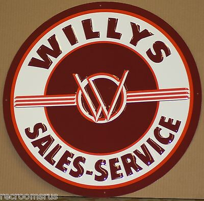 "WILLYS 24"" metal sign willys sales and service logo original jeep 4x4 mud"