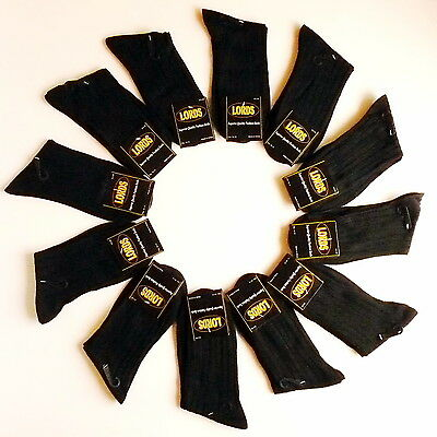 12 Pairs New Cotton Mens Lords Rib Style Dress Socks Size 10-13 Black Color