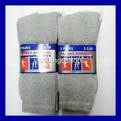 Lot of 6 Pairs New Cotton Men's Athletic Sports Crew Socks 10-13 Gray White