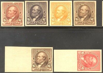 224Tc, 9 Diff Trial Colors On Stamp Paper All Xf Gems