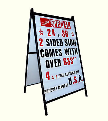 New A Frame 2 Sided Sidewalk Sign Sandwich Board & Ltrs