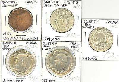 Sweden - 4 Silver Unc & 1 Bronze Coin Vf - Nice Group!