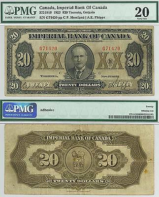 Imperial Bank Of Canada 1923 $20 Toronto - Pmg 20 Vf *