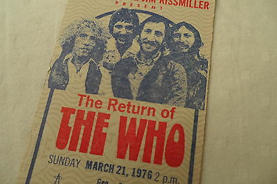 THE WHO 1976 Original UNUSED CONCERT TICKET__Anaheim Stadium  KEITH MOON