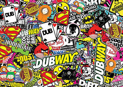 x2 sticker bombing sheets A4 sticke bomb decal VW Dub Euro style