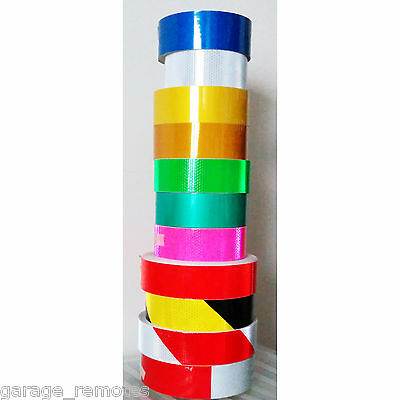 Safety Reflective Adhesive Tape BLUE WHITE SILVER YELLOW GREEN PINK RED STRIPE