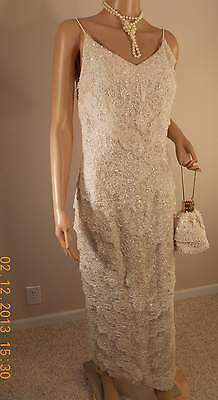 Haute Couture International Vint Swee Lo Creme Beaded Sequinned Spaghetti Evenin