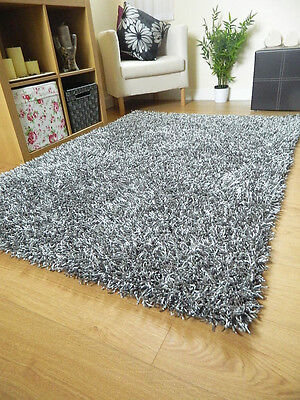 Small Large Thick Dense Luxurious Heavy Silver Grey Mix Shaggy Spaghetti  Rug