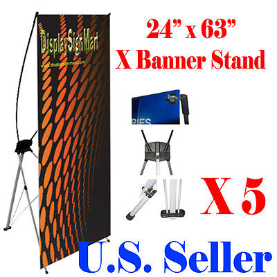 "5 PcS X Banner Stand 24"" x 63"" w/ Free Bag , Trade Show Display Banner X-banner"