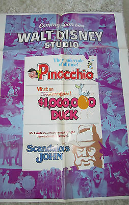 Vintage 1970's WALT DISNEY COMING ATTRACTION 1 Sheet Movie Poster PINOCCHIO