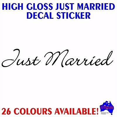 Just Married gloss vinyl bridal car wedding window panel lettering decal sticker