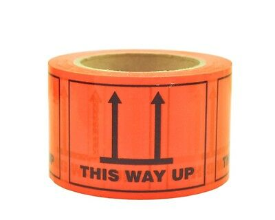 500 This Way Up Labels 100x72mm Fluoro Orange Perforated Sticker Roll