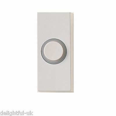 White Doorbell Bell Push with Light Spot - Illuminated/Lit  - Made by Friedland