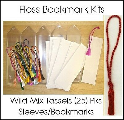 Bookmark Kits: 25 Vinyl Sleeves, Blank Bookmarks, Wild Variety Bookmark Tassels