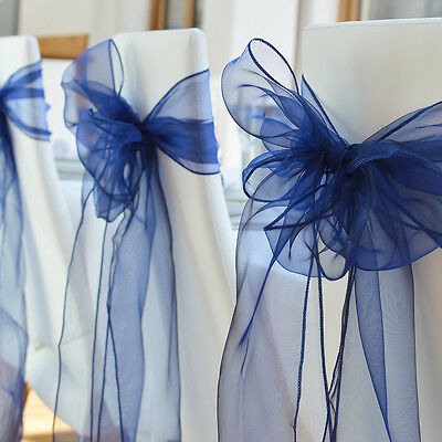 1/10/50/100pcs Organza Chair Sashes Cover Bows Wedding Party Banquet Reception D