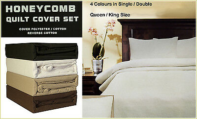 Honeycomb Waffle Quilt / Doona Cover  Set Single, Double , Queen , King Size