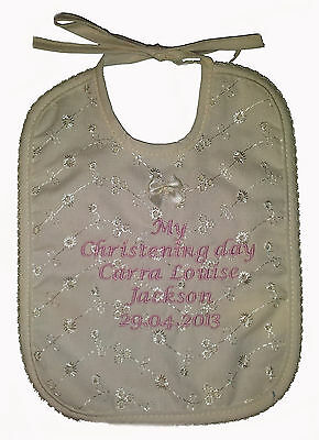 Personalised Embroidered Baby My Chrstening Day Bib Ivory 1 or 2 Bibs