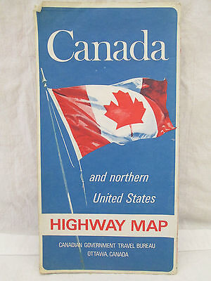 1969 CANADA and Northern Unites States Highway Map Canadian Travel Bureau