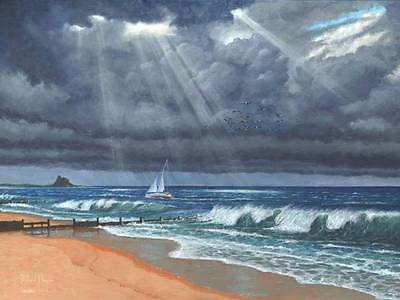 STUNNING ORIGINAL RICHARD HARPUM M.A (Camb) Raw Storm over Lindisfarne  PAINTING