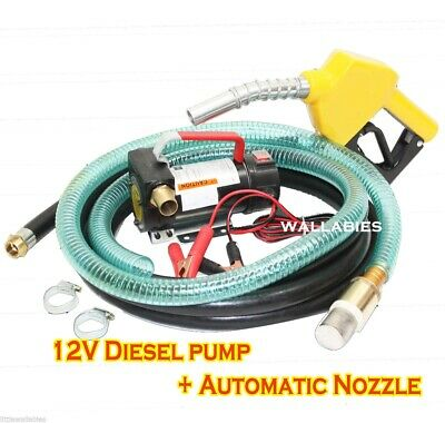 NEW 12v Diesel Fuel Transfer Pump 11 GMP W/ Automatic Nozzle +12' Hose