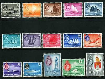 Singapore Malaya 1955 definitives set of 15 SG 38-52 unmounted mint