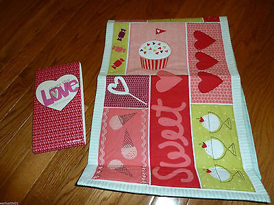 """Valentine's Sweet Treats Table Runner Valentine's Day Quilted 36"""""""